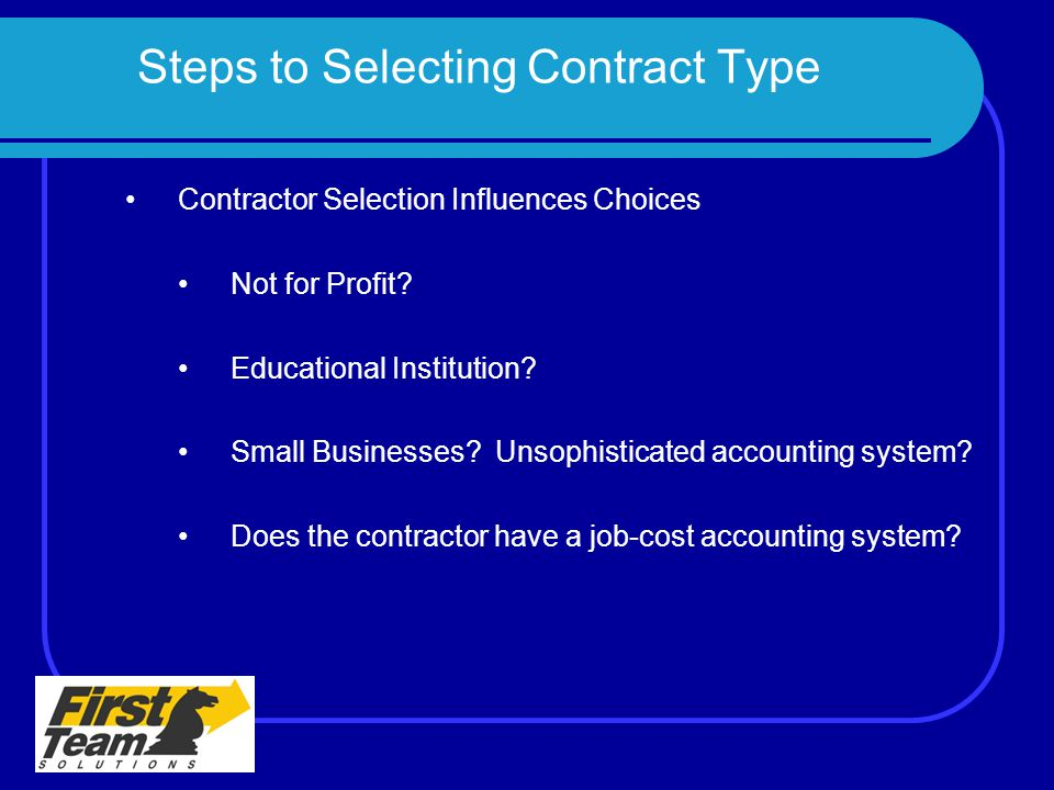 Steps to Selecting Contract Type
