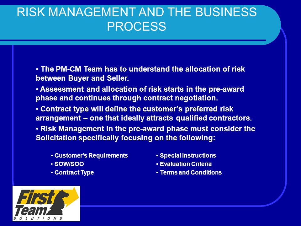 RISK MANAGEMENT AND THE BUSINESS PROCESS