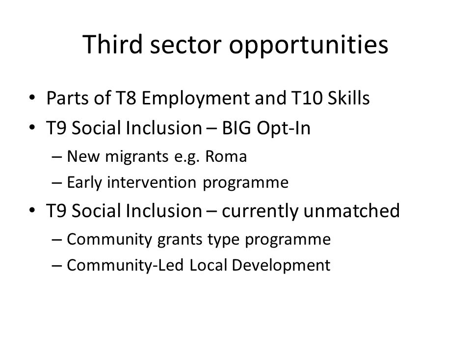 Third sector opportunities