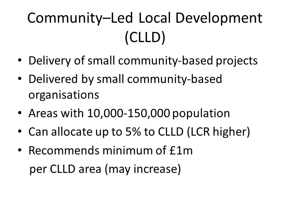 Community–Led Local Development (CLLD)