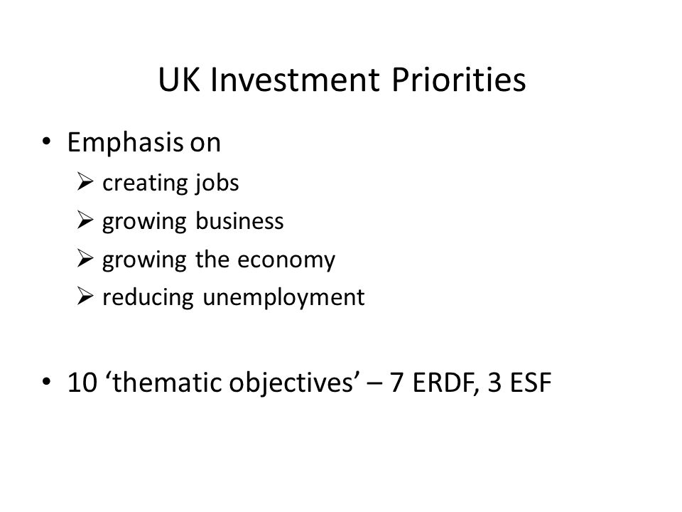 UK Investment Priorities