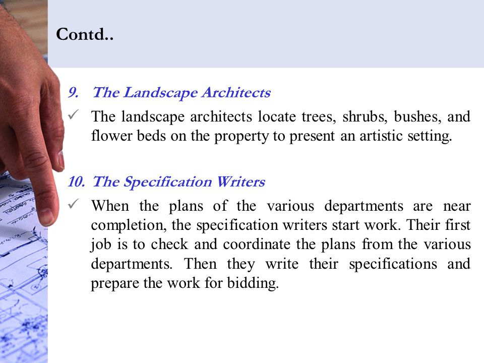 Contd.. The Landscape Architects
