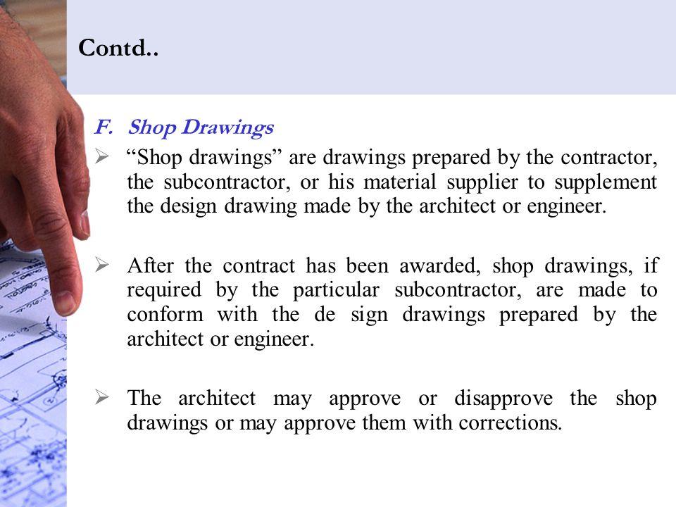 Contd.. Shop Drawings.