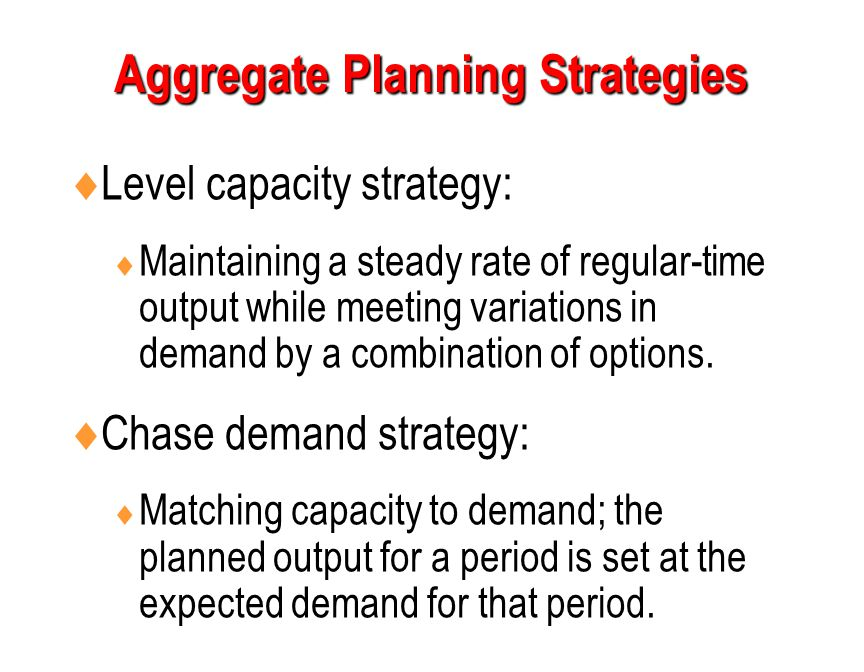 aggregate planning strategies to meet demand and supply