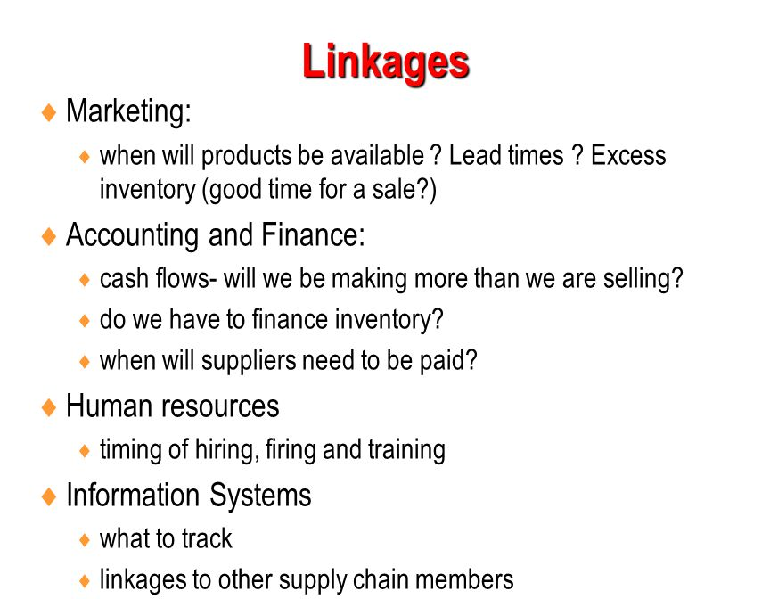 Linkages Marketing: Accounting and Finance: Human resources