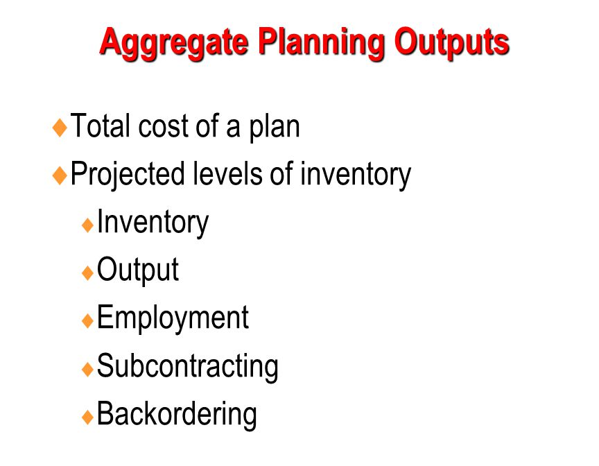 Aggregate Planning Outputs