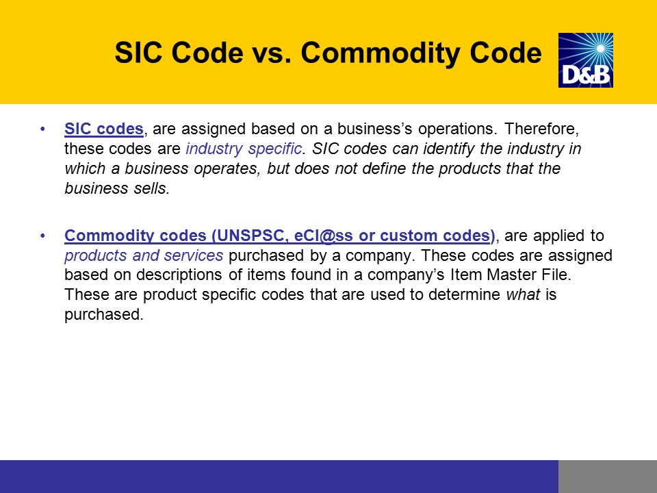 SIC Code vs. Commodity Code