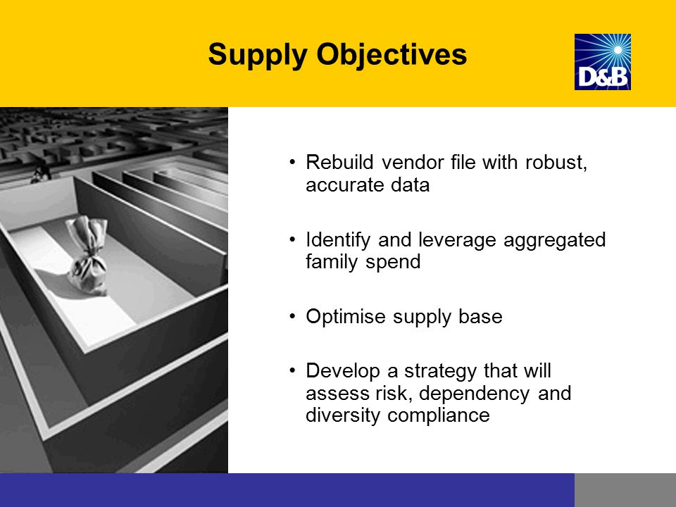 Sourcing objectives Supply Objectives