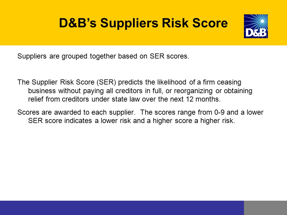 D&B's Suppliers Risk Score