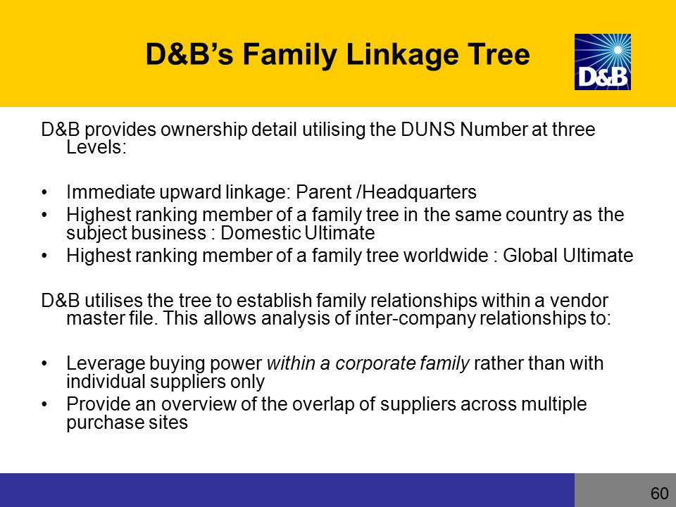 D&B's Family Linkage Tree