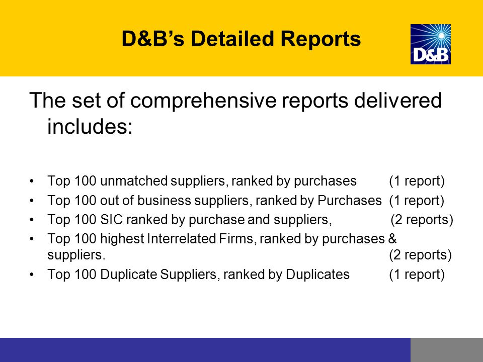 D&B's Detailed Reports