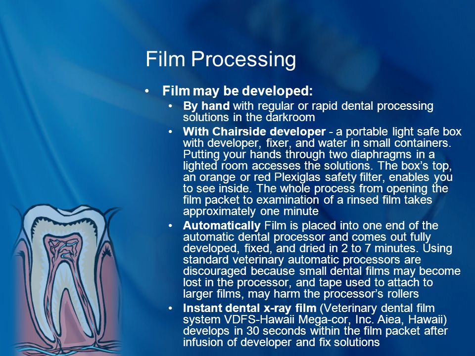 Film Processing Film may be developed: