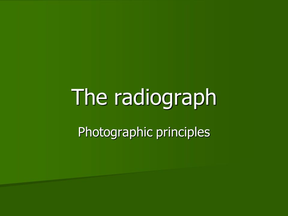 Photographic principles