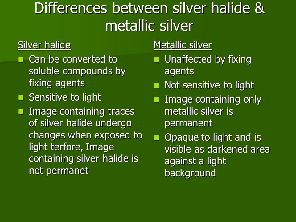 Differences between silver halide & metallic silver