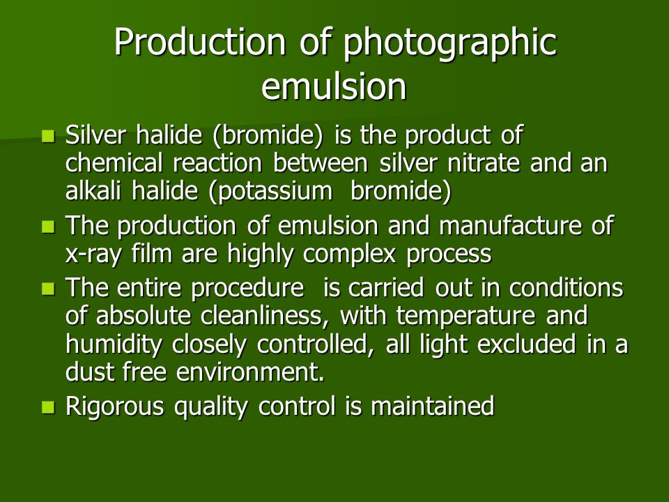 Production of photographic emulsion