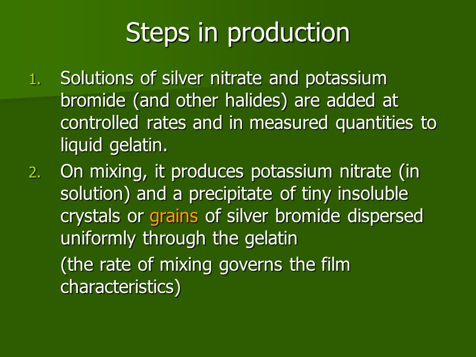 Steps in production