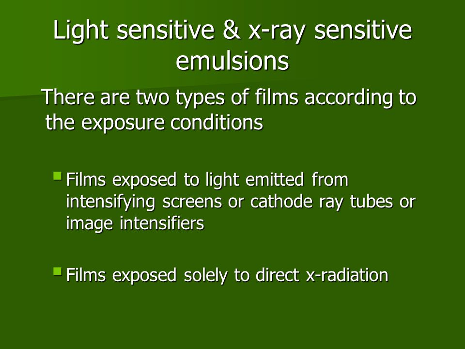 Light sensitive & x-ray sensitive emulsions
