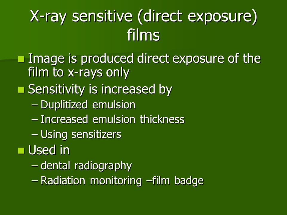 X-ray sensitive (direct exposure) films