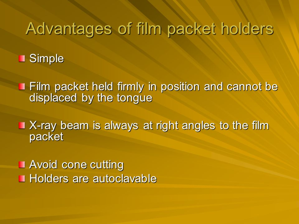 Advantages of film packet holders