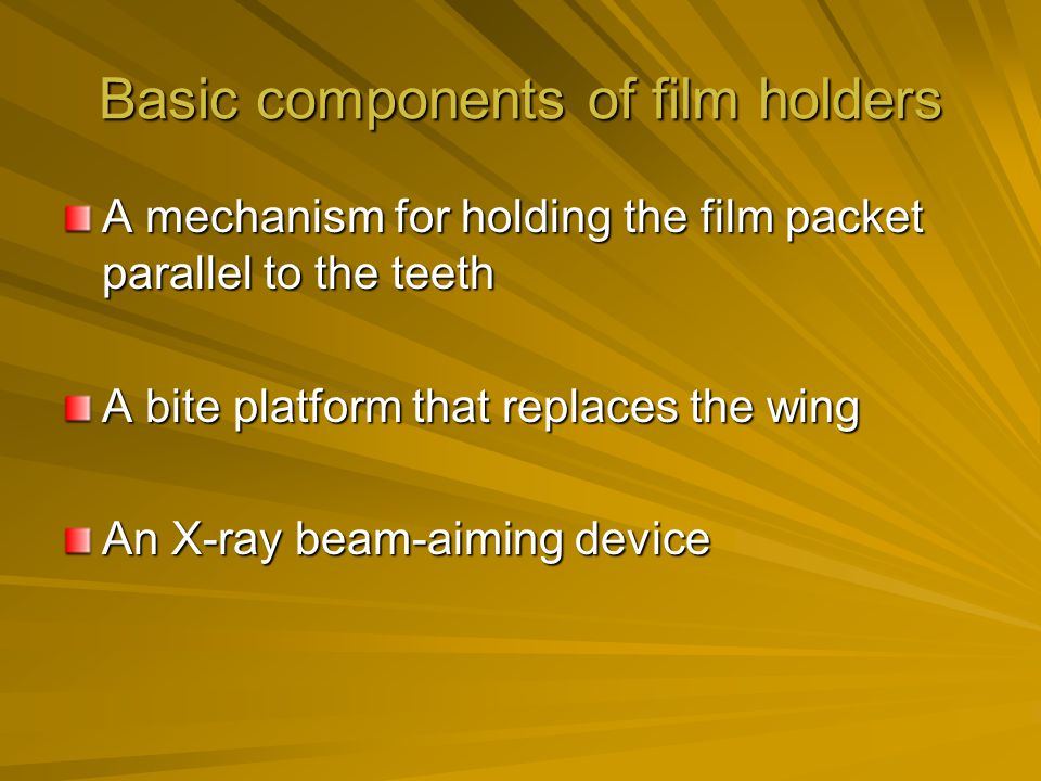 Basic components of film holders
