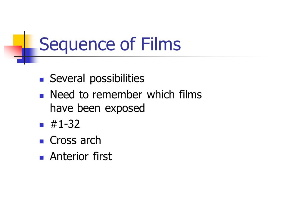 Sequence of Films Several possibilities