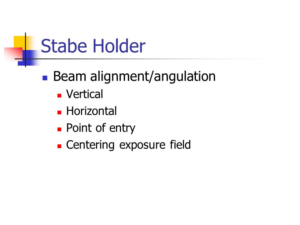 Stabe Holder Beam alignment/angulation Vertical Horizontal
