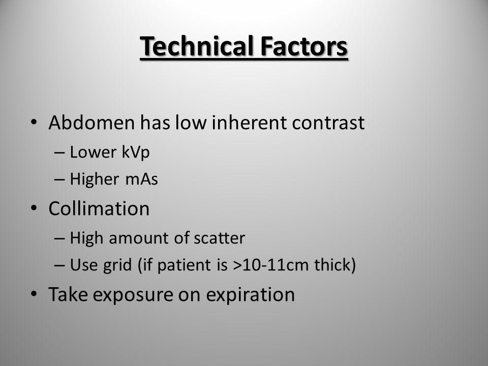 Technical Factors Abdomen has low inherent contrast Collimation