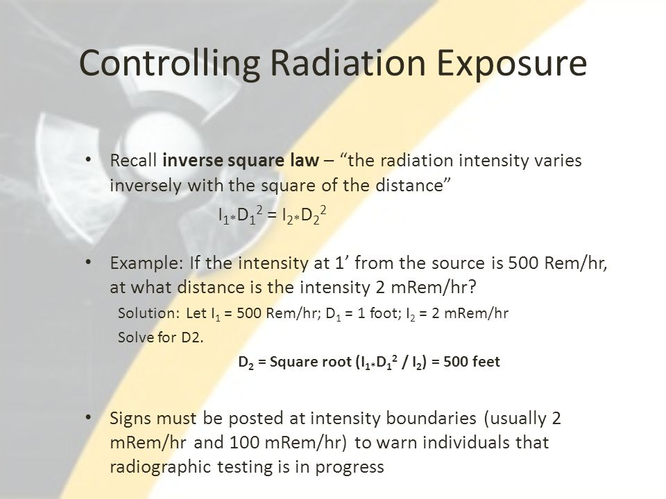 Controlling Radiation Exposure