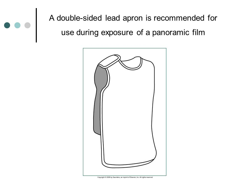 A double-sided lead apron is recommended for use during exposure of a panoramic film