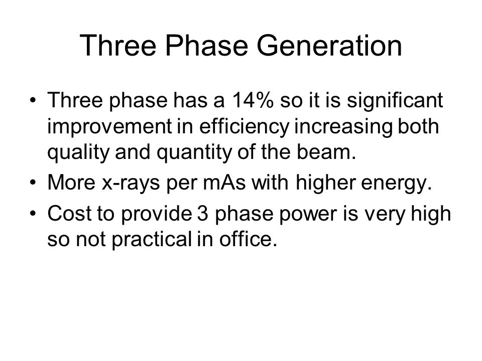 Three Phase Generation