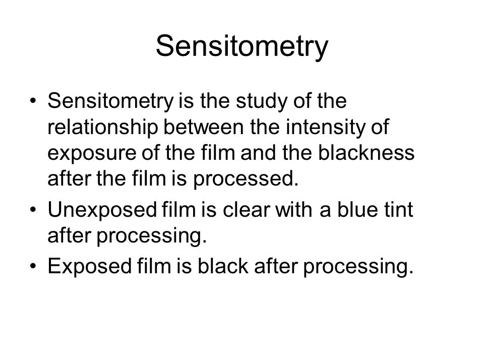 Sensitometry