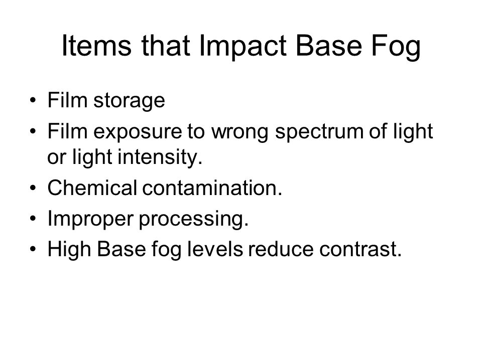 Items that Impact Base Fog