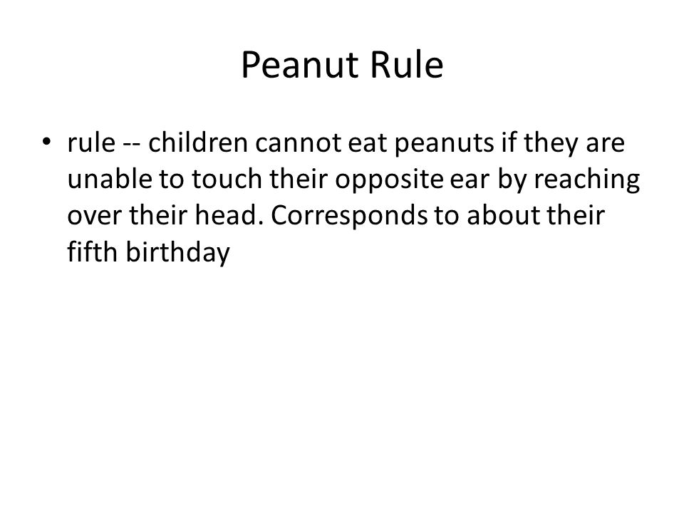 Peanut Rule