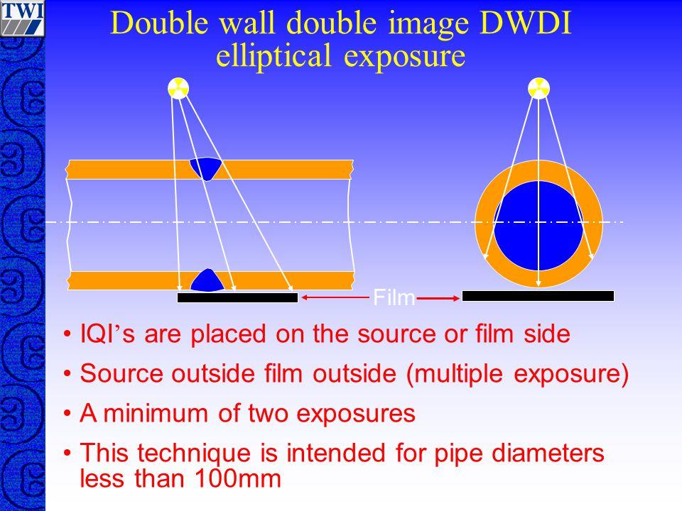 Double wall double image DWDI elliptical exposure