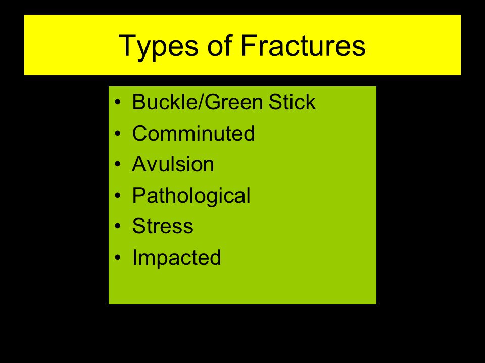 Types of Fractures Buckle/Green Stick Comminuted Avulsion Pathological