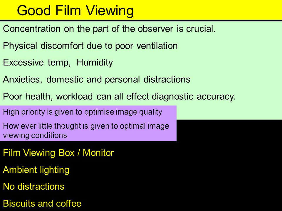 Good Film Viewing Concentration on the part of the observer is crucial. Physical discomfort due to poor ventilation.
