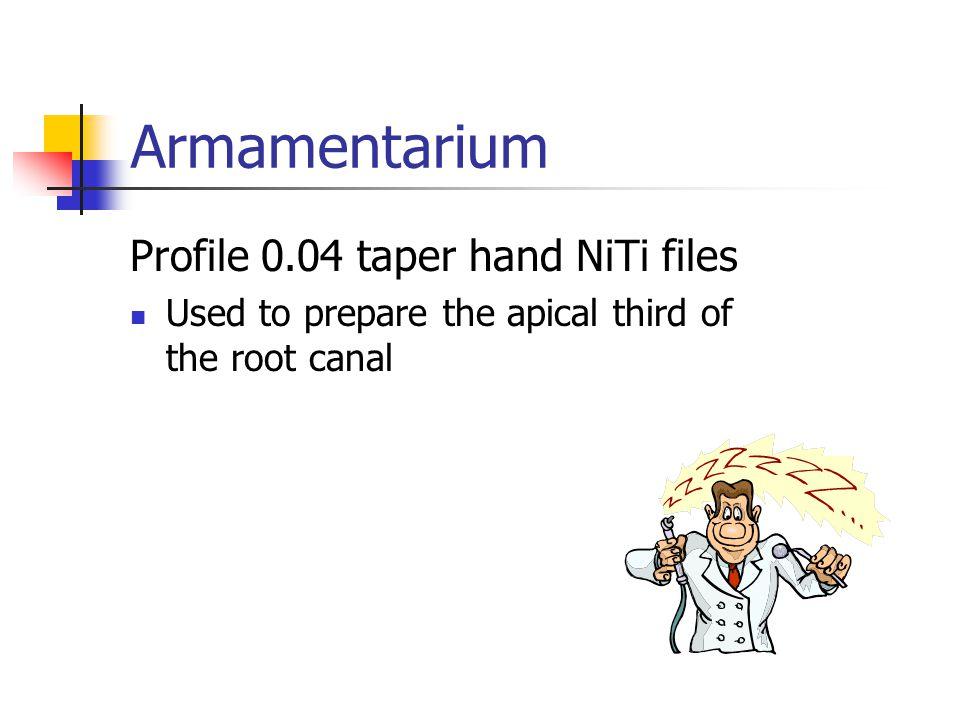 Armamentarium Profile 0.04 taper hand NiTi files