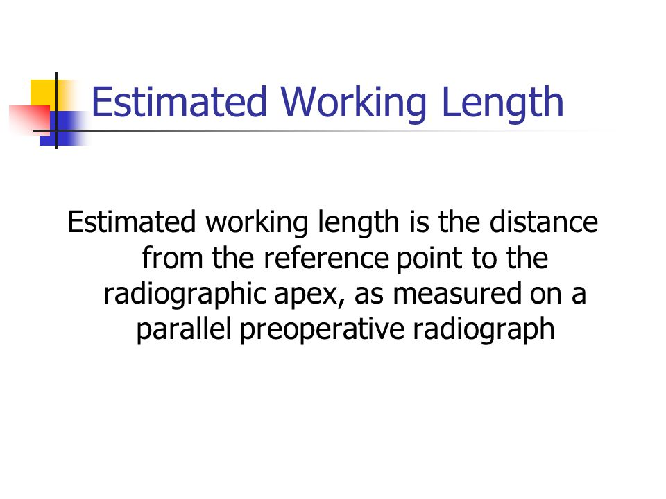 Estimated Working Length