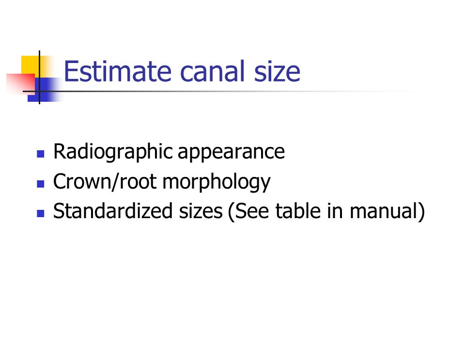 Estimate canal size Radiographic appearance Crown/root morphology