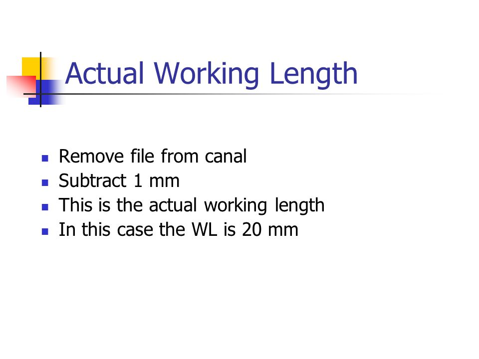 Actual Working Length Remove file from canal Subtract 1 mm