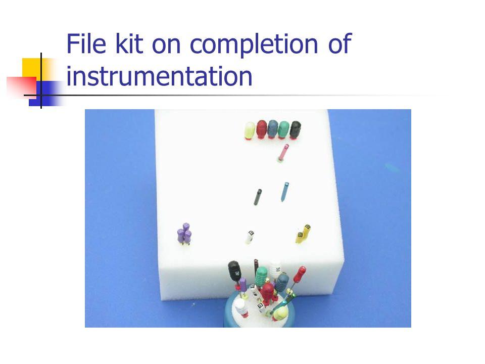 File kit on completion of instrumentation