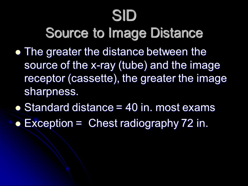 SID Source to Image Distance