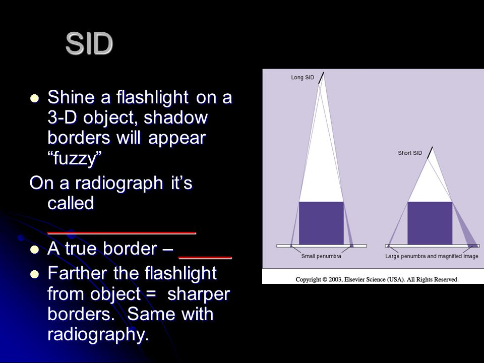 SID Shine a flashlight on a 3-D object, shadow borders will appear fuzzy On a radiograph it's called ______________.