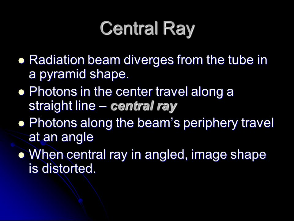 Central Ray Radiation beam diverges from the tube in a pyramid shape.