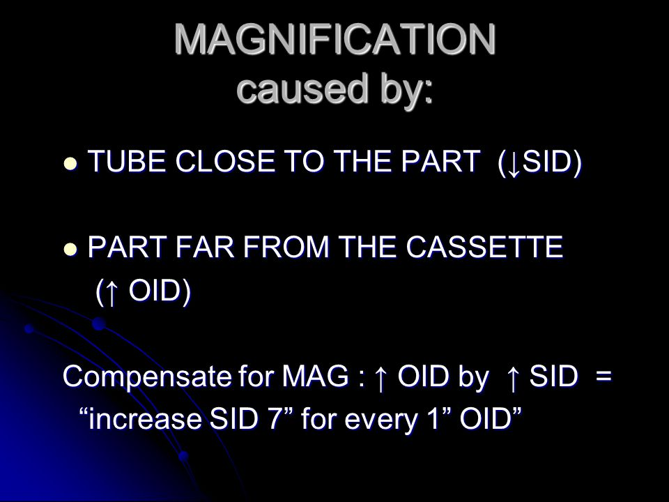 MAGNIFICATION caused by:
