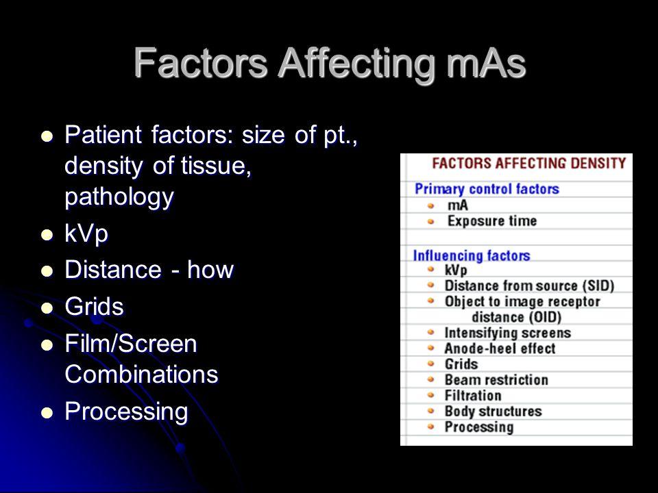Factors Affecting mAs Patient factors: size of pt., density of tissue, pathology. kVp. Distance - how.