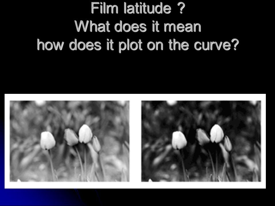 Film latitude What does it mean how does it plot on the curve