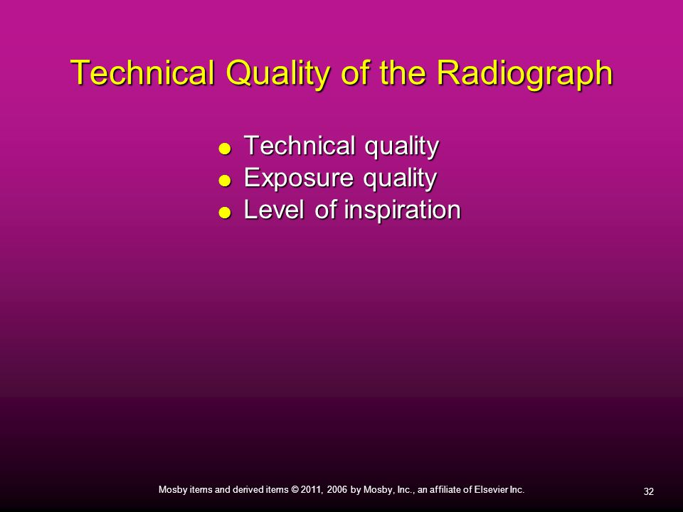 Technical Quality of the Radiograph