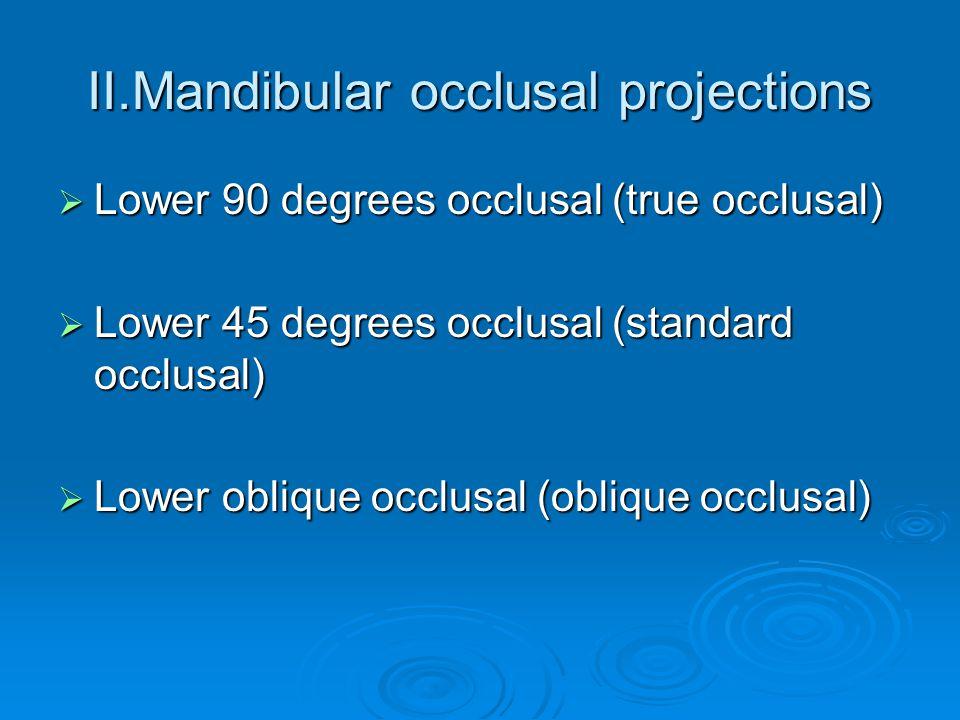 II.Mandibular occlusal projections