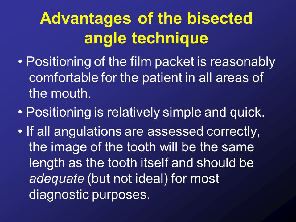 Advantages of the bisected angle technique